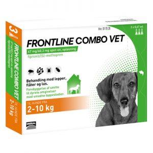 Frontline Combo, Hund (Lopper/flåter/lus) (2-10 kg)-æske med pipetter