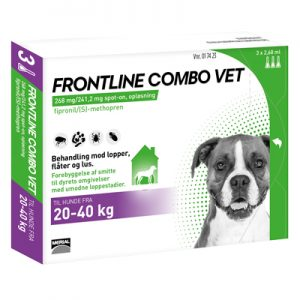 Frontline Combo (Lopper/Flåter/Lus/ Hund (20-40kg)-æske med pipetter