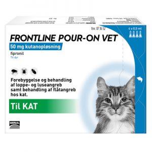 Frontline Pour-On (Lopper/Flåter/Lus) til katte , æske med 4 pipetter