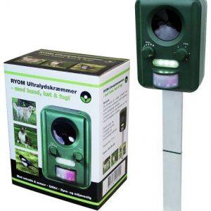Ultralydsskræmmer med solcelle, sensor og blitz -grøn. mod ræve, fugle, katte og vildt