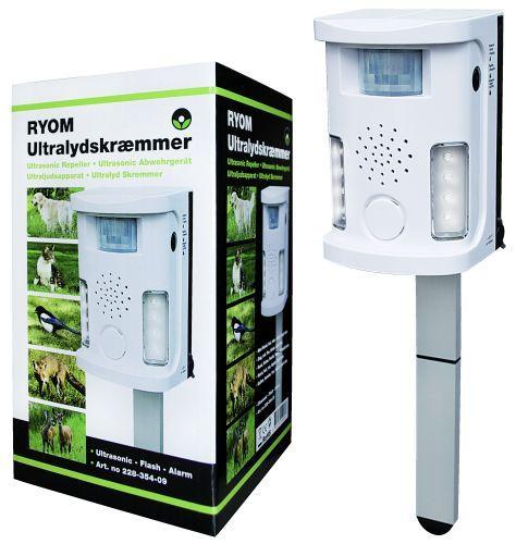 Ultralydskræmmer, hvid fraRyom med alarm -Skræmmeren virker mod hunde, katte, fugle, ræve og vildt.