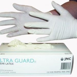 Latex handske med pudder 100 stk.-hvide