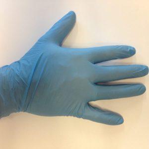 Blå Pudderfri nitril Malkehansker/Undersøgelseshandsker - Engangshandske