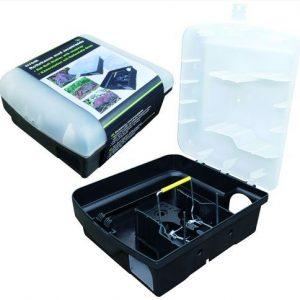 Rottekasse Plast m/ Smækfælde-sort med gennemsigtigt låg