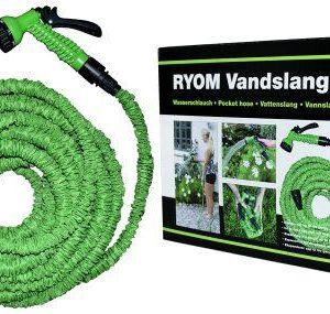 Vandslange flex 5-15 meter-grøn haveslange med brusehoved.