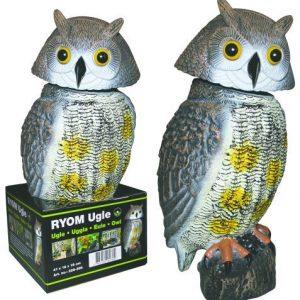 Fugleskræmmer Ryom Ugle XL-ligner en ugle. hovedet kan bevæge sig og øjnene lyser.