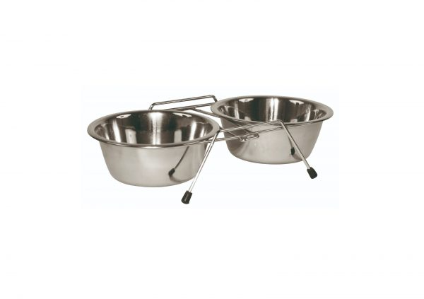 Hundeskåle stativ med 2 skåle