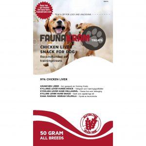 Faunakram godbidder til hunde med kyllingelever, 70 gram