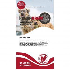 Faunakram godbidder med okselever til hunde, i 70 gram pose