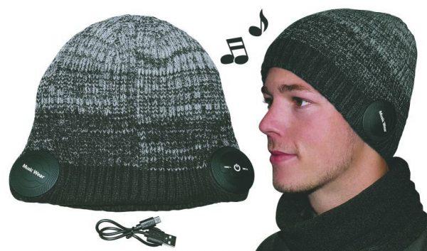 Strikhue m/bluetooth og mikrofon-Farve:Grå-mix, one size.