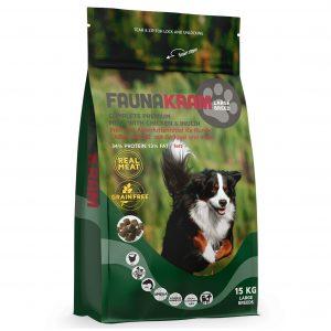 Faunakram hundefoder til store hunde, 15 kg