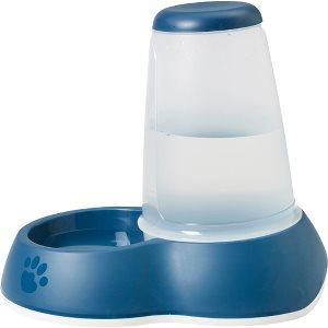 Vandskål, water loop med dispenser, til hunde og katte, blå og hvid