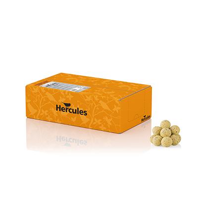 Mejsebolde, en gul æske Hercules mejsebolde med 50x90G uden net
