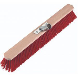 rød staldkost med metalsokkel, 100 cm