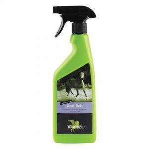 Parisol Anti-Itch i grøn sprayflaske. Til kløe ved heste
